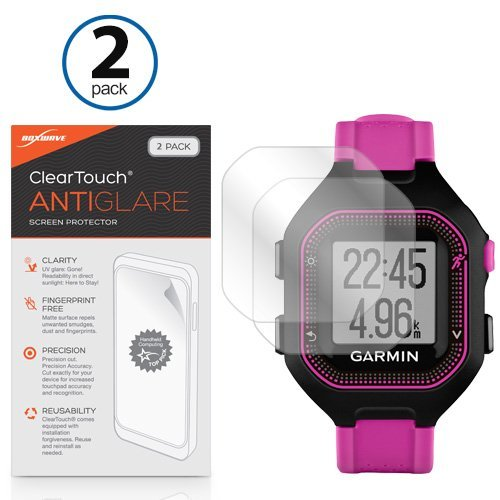 BoxWave Screen Protector for Garmin Forerunner 25 Black/Purple [ClearTouch Anti-Glare (2-Pack)] Anti-Fingerprint Matte Film Skin for Garmin Forerunner 25 Black/Purple, 25 White/Pink