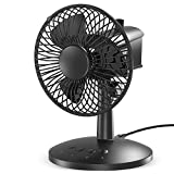 VersionTECH. Mini Ventilateur USB Sur Table Ultra Silencieux, Ventilateur de Bureau Rechargable Oscillatoire de Rotation de 120° , 3 Vitesses Pour Maison Chambre Voiture Dortoir – Noir