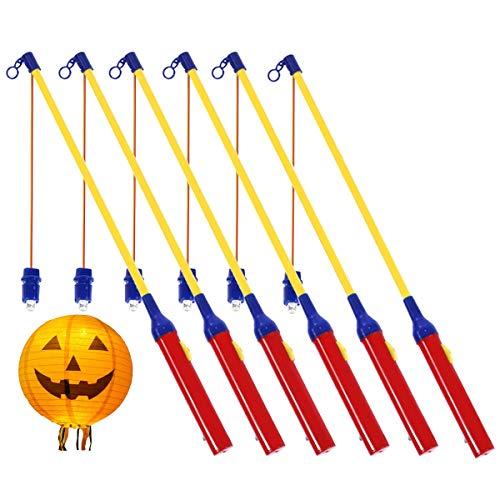 Nabance 6 Stück Laternenstab mit LED Elektronische Laternenstab 44cm Laternenstab LED für Kinder, Halloween, Martinstag