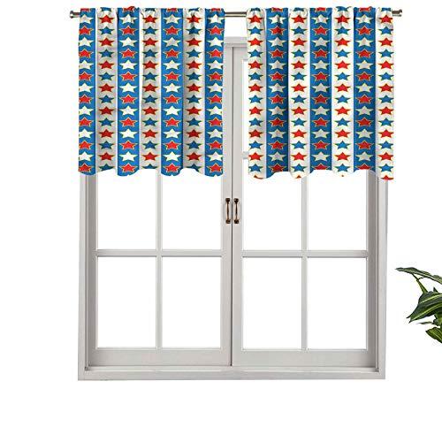 Hiiiman Cortinas cortas, con bolsillo para barra, de alta calidad, líneas verticales con estrellas, juego de 2, 54 x 24 pulgadas para baño y cocina