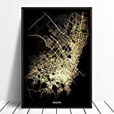 SKLHSIL Impresión De Lienzo,Moderno Estilo Nórdico Mural Pared Arte Póster Imagen Bogota Mapa Ciudad,Simple Negro Y Dorado Ilustraciones Oficina Sala De Estar Decoración 40X50
