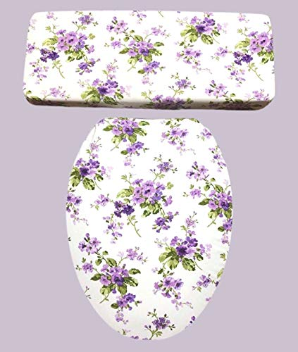 Lavender Purple Floral Bathroom Decor - Toilet Seat & Tank Lid Cover set - by Audrey Belisle