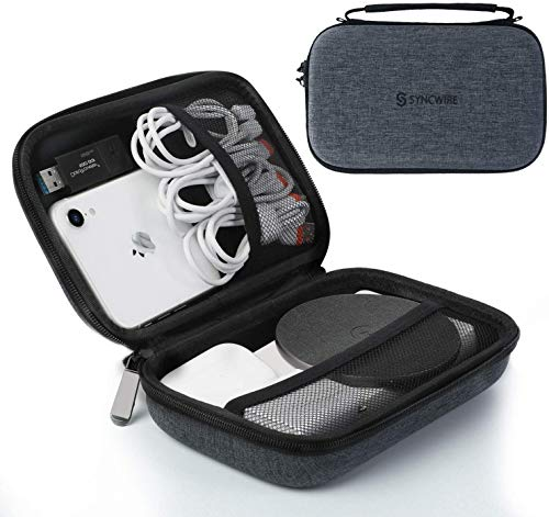Syncwire Travel Case Gadget Bag, Portable Electronics Organizer Small Wire Accessory Storage Bag with Durable Carrying Strap for Cables, Cords, Chargers, Gadgets, USB Drives, Earphones, Power Bank