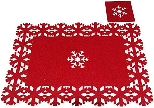 Lot de 4 x Sets de table de Noël sous-verres Tapis de salle à manger Rouge Place Santa dîner