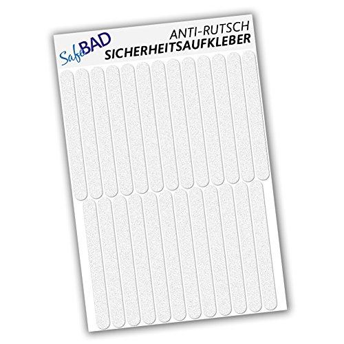 SafeBad Anti-Rutsch-Sticker, 25 Klebestreifen 15 x 1,5 cm für Sicherheit in Badewanne und Dusche