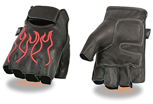 MEN'S MOTORCYCLE BLACK RED FLAMES DURABLE NEW BIKE GLOVES LEATHER FINGERLESS(2XL)
