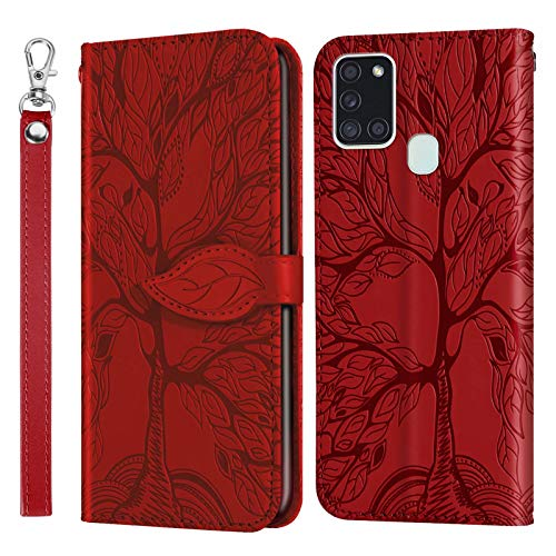 MUTOUREN Funda para Samsung Galaxy A21S - Carcasa Folio PU Cuero Flip Cover Wallet Case Anti-rasguños Protectora Bolsillo Carteras, con Protector de Pantalla - Rojo