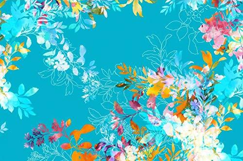 Qualitativ hochwertiger, gemusterter Jersey Stoff mit Blumen als Meterware zum Nähen von Baby, Kinder- und Erwachsen Kleidung, 50 cm