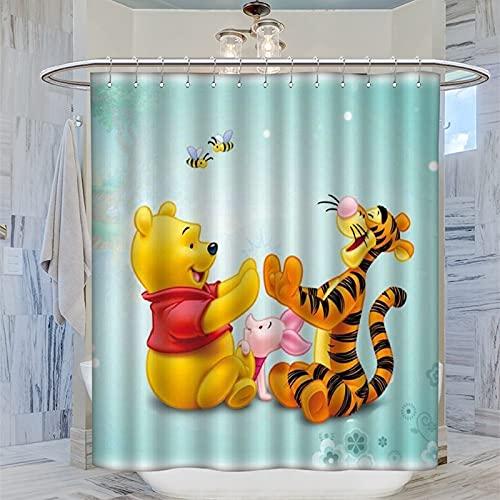 Trelemek Tigger Winnie The Pooh Bee Duschvorhang 183x183cm Wasserdicht Badvorhang mit 12 Kunststoffhaken Waschbar Badvorhang