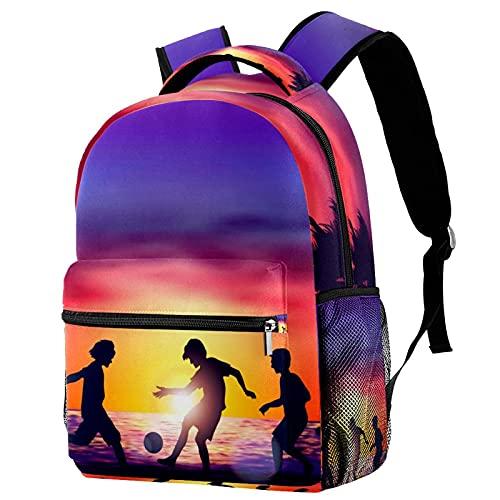 Backpack Atardecer de fútbol Playa Mochila Escolar Casual portátil Bolsa para la Escuela Mochila para Escuela Primaria Secundaria Universidad 25.4x10x30 CM