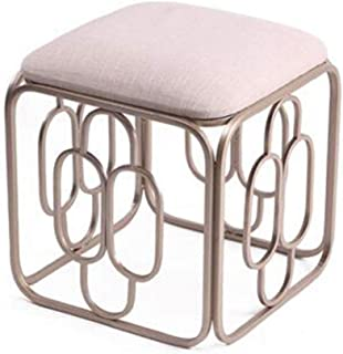 BYPING-Pouffes And Stool Upholstered Footstools Bedroom Retro Makeup Stool Square Pad Change Shoe Bench Metal Wrought Iron Frame Waterproof 4 Colors  Color Beige  Size 45X45X48CM