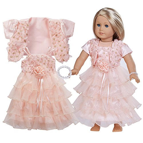 18 Inch Doll Clothes - Complete Evening Dress Set with Accessories Including Light Pink Shawl,Light Evening Dress,Pearl Bracelet,Fits American Girl Dolls