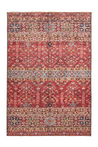 moebeldeal Teppich Faye 325 Multi/Rot Teppich Ethno Muster, Läufer, Wohnzimmerteppich, Teppichläufer Flur, 100% Baumwolle orientalisch Wohnzimmer Schlafzimmer (150 x 230 cm)