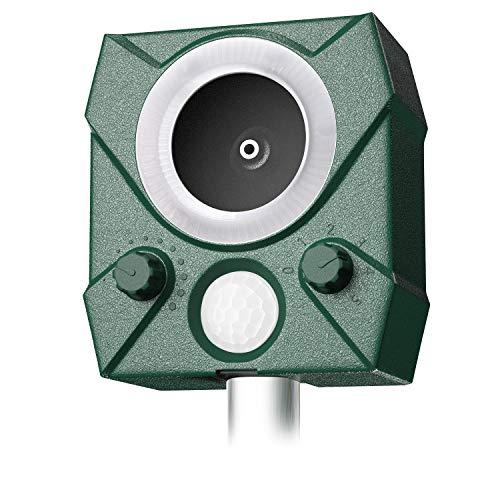 zonpor Cat Repellent, Ultrasonic Fox Repeller Solar Battery Operated Animal Cat Deterrents Scarer for Gardens (green)