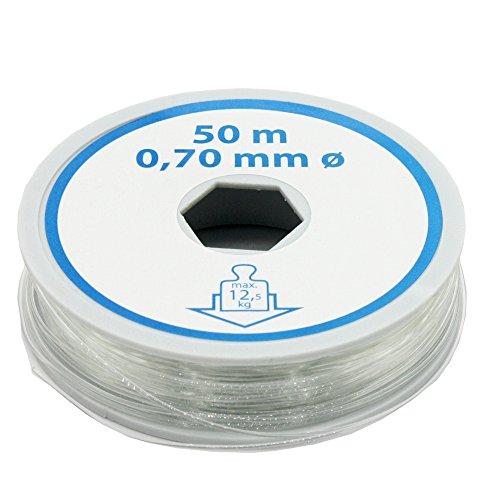 Christoph Palme Bastelfaden 0,70mm L. 50 Meter Nylonfaden Transparent Schmuckfaden Angelschnur Deko-Faden Montagefaden bis max. 12,5kg Zugkraft