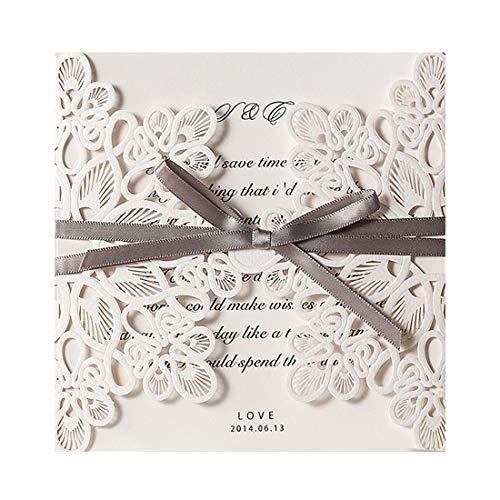 Wishmade, kit per biglietti di invito per matrimonio, con fiori tagliati al laser, con sigilli (lingua italiana non garantita), Ivory, 145x145mm