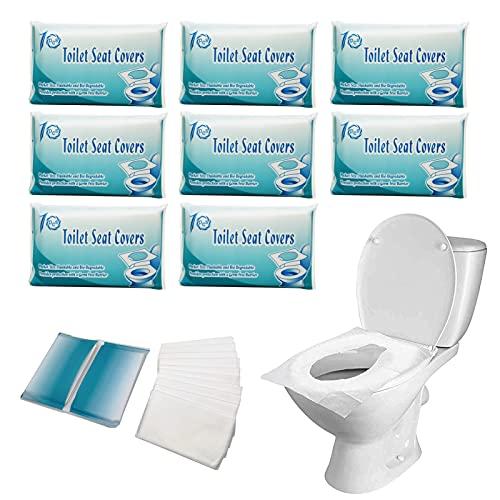 80 almohadillas desechables de papel lavable para asiento de inodoro público, para viajes, oficina, centros comerciales