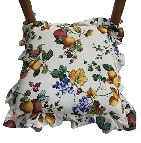 Cuscini sedie Cucina-Set 6 Pezzi-Imbottitura Multistrato-con Volant-con Zip-con Laccetti-Tessuto Pesante-Misura 40x40x6 cm art 89
