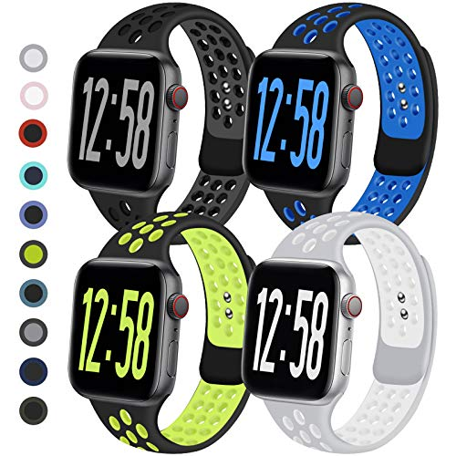Geoumy 4 Pack Sport Band Compatible for Apple Watch Bands 38mm 40mm 42mm 44mm, Breathable Soft Silicone Band Replacement Wristband Men Women Compatible with iWatch Series 1/2/3/4/5/6 SE (D, 42ML)