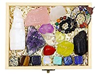 17 Natural Healing Crystals with Wooden Box and Instruction, 5 Raw and 11 Tumbled Chakra Crystals, 1 Thumb Worry Stone,1 Life Tree Necklace, 1 Bracelet, Chakra Gemstones Kit for Healing and Meditation