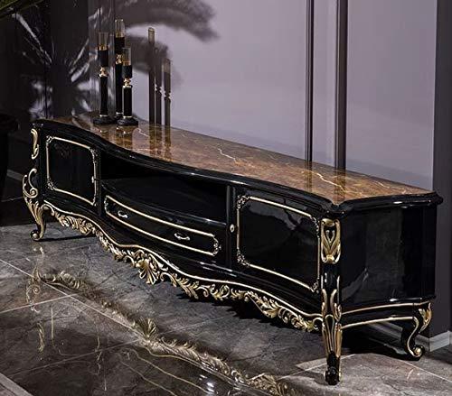 Casa Padrino Luxus Barock TV Schrank Schwarz/Gold 228 x 48 x H. 61 cm - Prunkvoller Massivholz Fernsehschrank - Barock Wohnzimmer Möbel