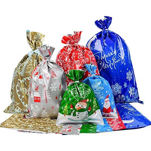 Sacchetti Regalo di Natale, 20 Buste Regalo con Cordoncino in 6 Design Natalizi - Borse e Scatole per Doni di Natale. Taglie Miste -20Pezzi-