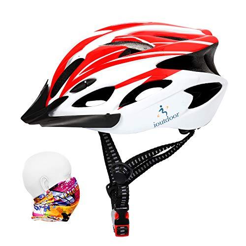 ioutdoor Erwachsene Fahrradhelm CE EN1078, EPS-Körper + PC-Schale, Robust und Ultraleicht, mit Abnehmbarem Visier und Polsterung, mit freiem Stirnband, Verstellbar Radhelm(56-64cm) (Rot Weiß)