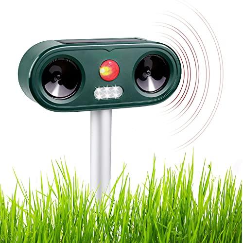 Repellente Gatti 1 PCS Repellente Ultrasuoni per Tenere Lontani Cani, Gatti, Uccelli, Ricarica USB e Solare, Frequenza Regolabile, Impermeabile per Ambienti Esterni