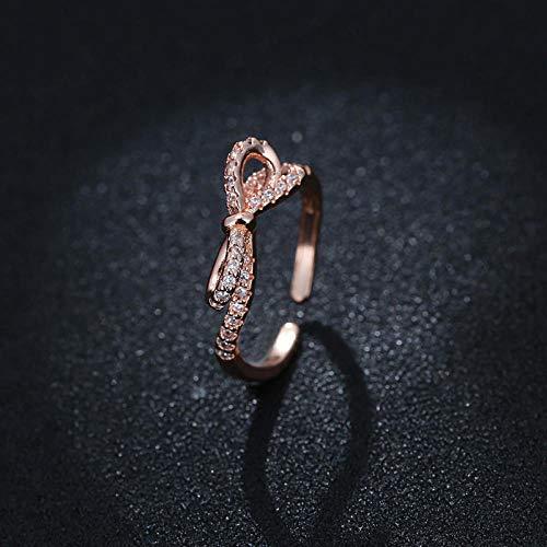 PRAK Anillo Ajustable de Plata de Ley 925 para Mujer, diseño de Lazo de Oro Rosa con Diamantes