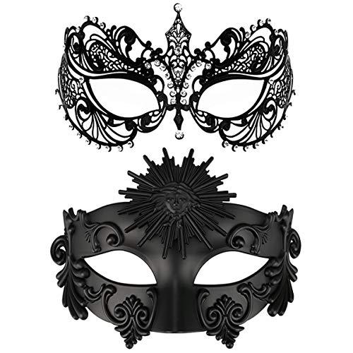Thmyo EIN Paar Paar Maskerade Maske, Krone Maske venezianischen Kostüme Mardi Gras Prom Maske (Schwarz + schwarz 3)