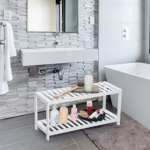Vencier 2 Tier Bamboo Shoe Rack Stand Shelf Shelving Hallway,Bedroom,Bathroom,Living Room Organizer Holder Storage for 8 pairs shoes (White)
