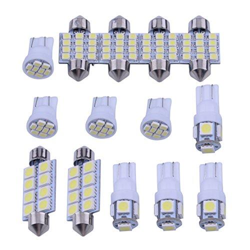 beler 14Pcs Blanc LED Intérieur Ampoules Kit Kit Fit Pour T10 & 31mm Carte Dôme Plaque D'immatriculation Lumières