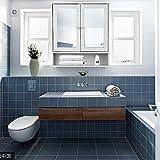 IKAYAA Spiegelschrank Badhängeschrank mit 2 Spiegeltür 56x13x58cm mit Glastüren und Regalen Badezimmerschrank Badmöbel