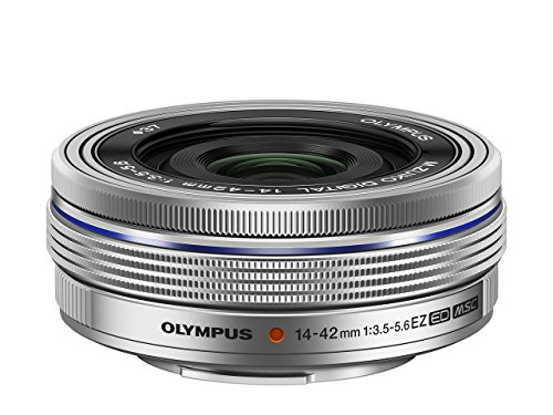 Olympus Objetivo M.Zuiko Digital 14-42mm F3.5-5.6 EZ, Zoom estándar, Adecuado para Todas Las cámaras MFT (Modelos Olympus OM-D & Pen, Serie G de Panasonic), Plata
