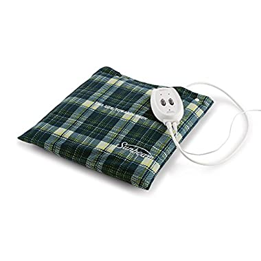 Sunbeam Flexi-Soft Massaging Heating Pad, 2 Heat/Massage Settings, 1-Hour Auto-Off, 12  x 12 , Plaid