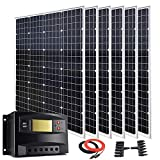 720 Watt 12 Volt 24 Volt Solar Panel Premium Kit with 6pcs 120W Monocrystalline Solar Panel and 60A PWM Solar Charge Controller +...