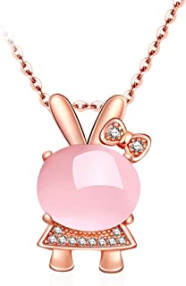 Necklace Pink Crystals With Bunny Pendant Necklace S925 Silver Rose Gold Plated 18inch Women's Pendants