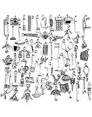 قلادة بالجملة، 100 قطعة أثرية فضية ساحرة مختلطة قلادة سحر أدوات منزلية لوازم الحرف اليدوية لصناعة المجوهرات الحرفية