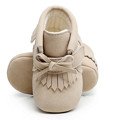 HONGTEYA Bow Fringe Winter Warm with Fur Baby Boots Pu Leather Baby Girls Princess Shoes Soft Sole Baby Boots (US6M 12-18Months 13cm 5.12
