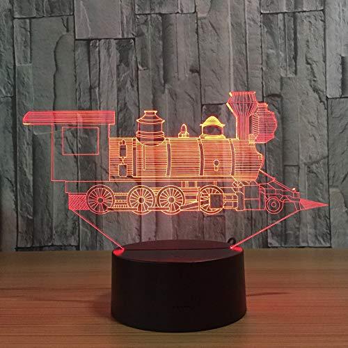 jiushixw 3D acryl nachtlampje met afstandsbediening kleurverandering lamp locomotief oude trein transparant lood kunststof tafellamp