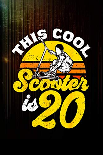 20th birthday retro scooter driver scooter boys kids Notebook 114 Pages Size 6''x9'' / College Ruled