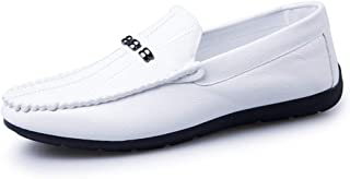 Shangruiqi Driving Loafers for Men Boat Shoes Slip On PU Upper Lug Sole Super Flexible Stitched Metal Ring Decor Anti-Skid (Color : White, Size : 8 UK)