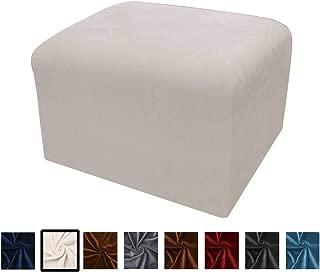 Argstar Velvet Ottoman Slipcover Furniture Protector Stretch Elastic Cover for Ottoman, Cream White