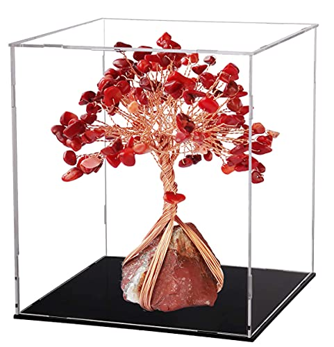 Healing Crystal Family Tree – DIY Package of Natural Gemstone Chips Loose Beads to Make Money Tree as Gift or Feng Shui Luck Figurine Red Corals