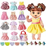 OUFOTAT Girl Doll-Clothes and Accessories for Alive-Baby Doll - Fits 13 14 15 16 Inch Bitty Girl Baby Doll with 12 Doll Dresses 5 Unicorn Hairpins 5 Underwear 1 Storage Bag for American Doll Gift