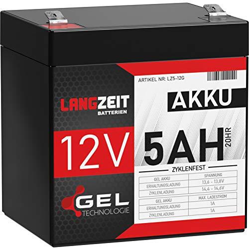 LANGZEIT Akku 12V 5Ah Gel Profi Blei-Akku USV extrem zyklenfest vorgeladen auslaufsicher ersetzt 4Ah 4,5Ah