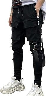 waitFOR Men's Patchwork Hip Hop Long Trousers, Men Solid Color Slim Fit Cargo Trousers with Side Pockets Strap, Multi Pock...