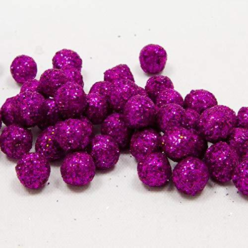 Visiodirect Sachet de 40 Boules de décoration pailletées Coloris Fuschia - 12 mm