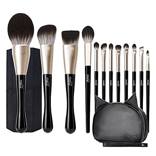 Pinceaux de Maquillage, Magic Eye 12 Pcs Premium Synthetic Foundation Eyeshadow Contour Face Brushes Set, Natural Hair Professional Makeup Brush Set Travel Makeup Brush Kit with Bag