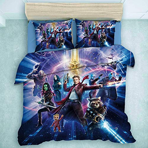 QWAS Wächter der Galaxie Bettbezug Adult Child Marvel Hero Blood (A02,135X200cm+50x75cmx2)